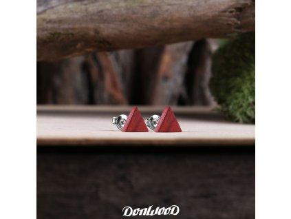 drevene nausnice trojuhelniky redwood