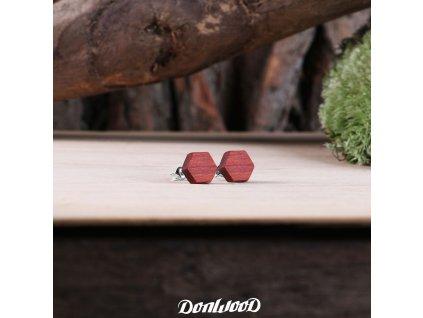 drevene nausnice sestiuhelniky redwood