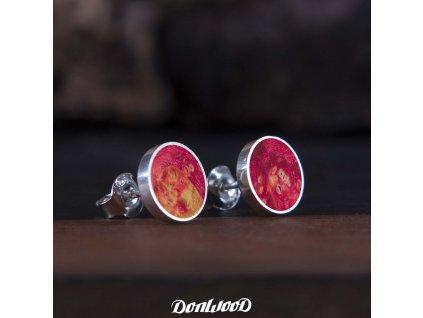 Donwood dřevěné naušnice růžov neon