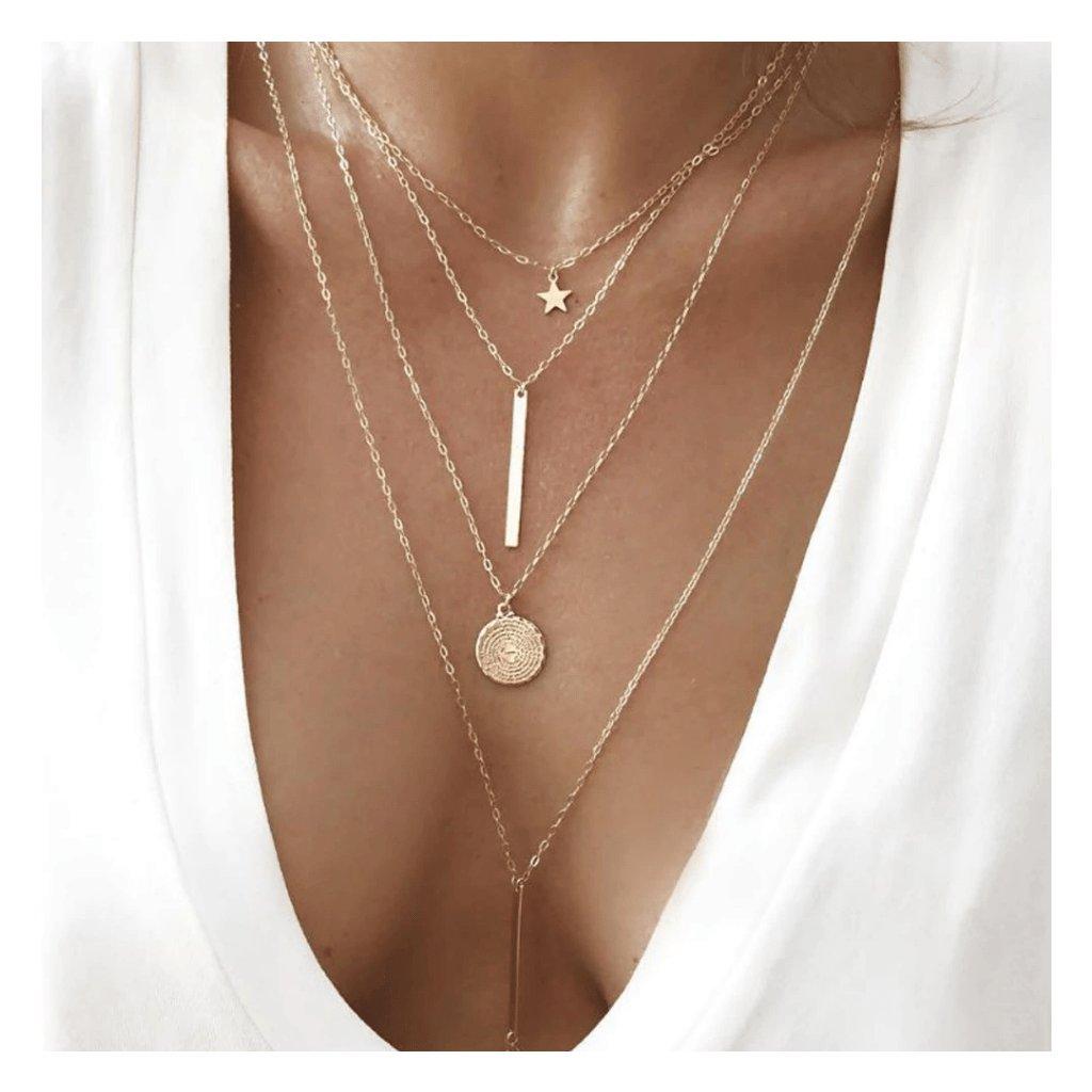 Dámsky vintage náhrdelník so 4mi retiazkami