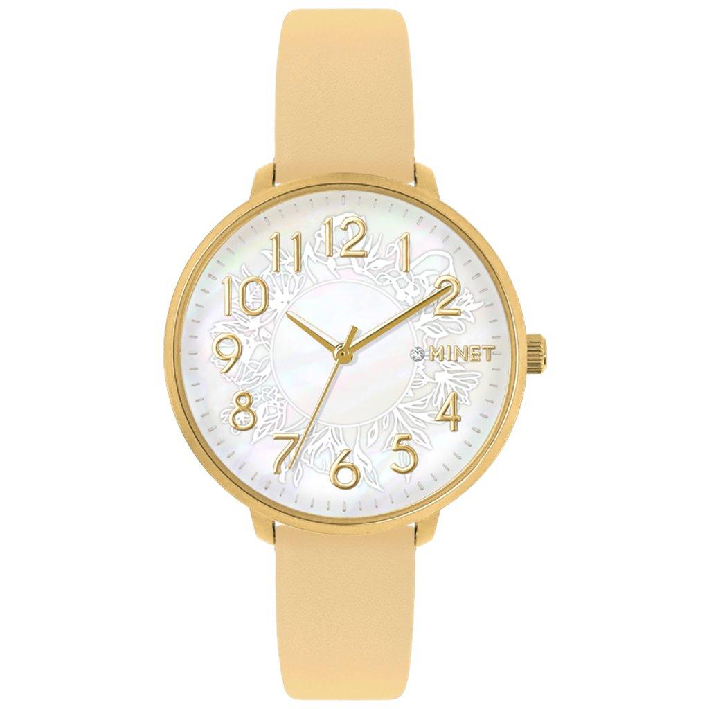 Béžové dámske hodinky MINET PRAGUE Beige Flower