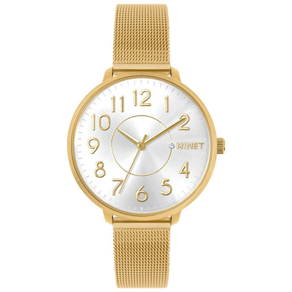 Zlaté dámske hodinky MINET PRAGUE Pure Gold MESH s číslami