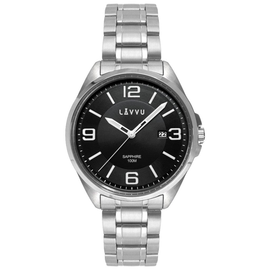 Pánske hodinky so zafírovým sklom LAVVU HERNING Black