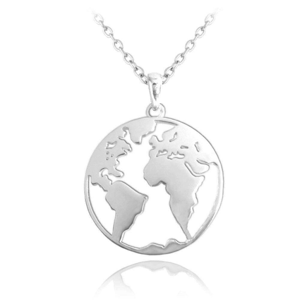 Cestovateľský strieborný náhrdelník MINET Zemeguľa