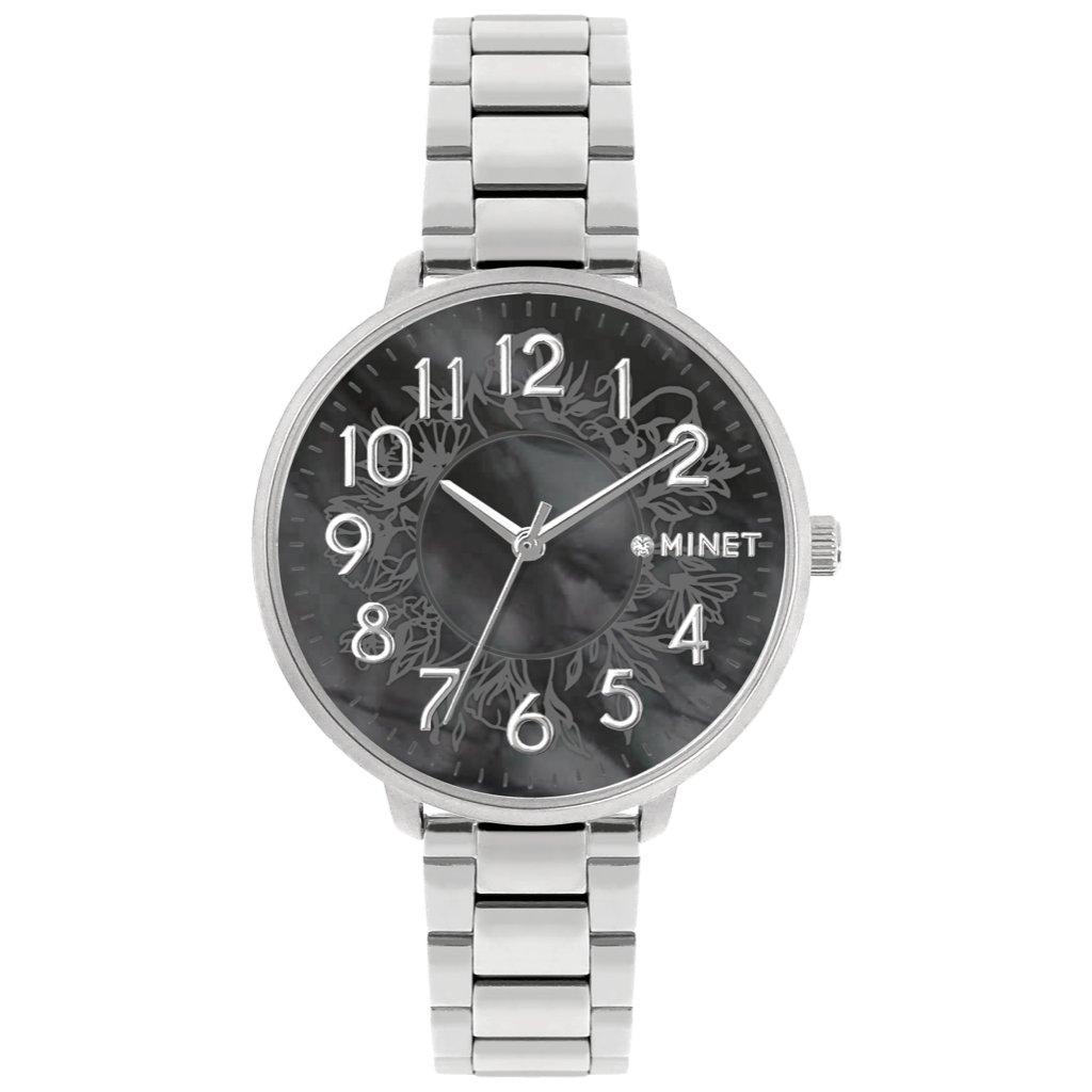 Strieborno-čierne dámske hodinky MINET PRAGUE Black Flower s číslami