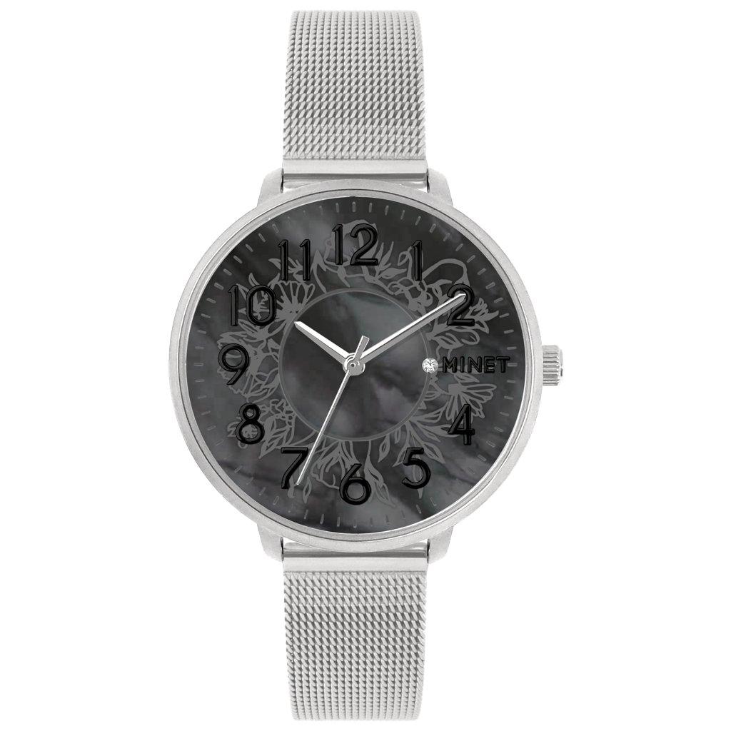 Strieborné dámske hodinky MINET PRAGUE Black Flower Mesh s číslami