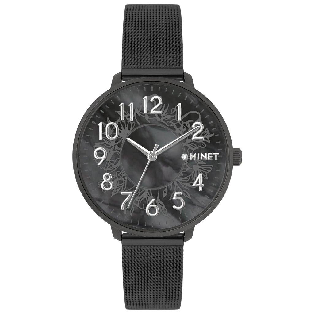 Čierne dámske hodinky MINET PRAGUE Black Flower Mesh s číslami
