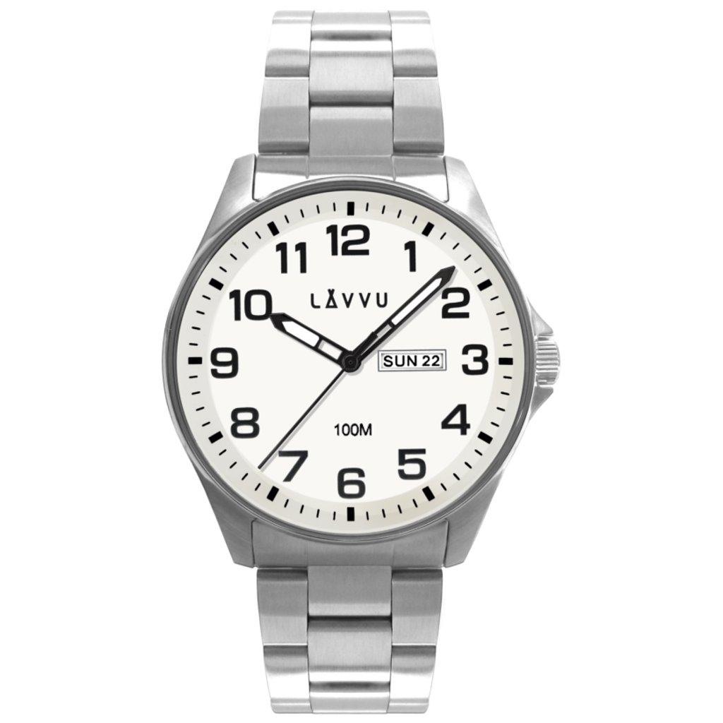 Oceľové pánske hodinky LAVVU BERGEN White so svietiacimi číslami