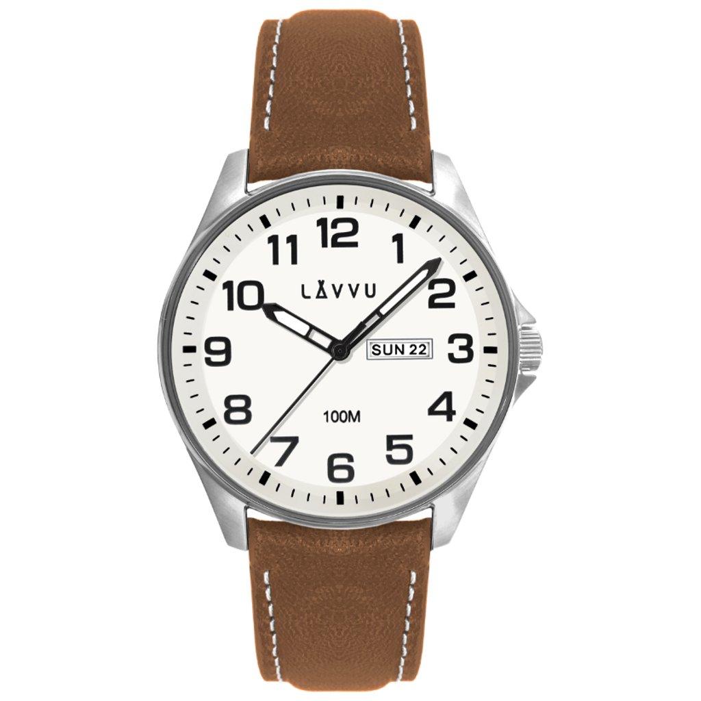 Oceľové pánske hodinky LAVVU BERGEN White/Top Grain Leather so svietiacimi číslami