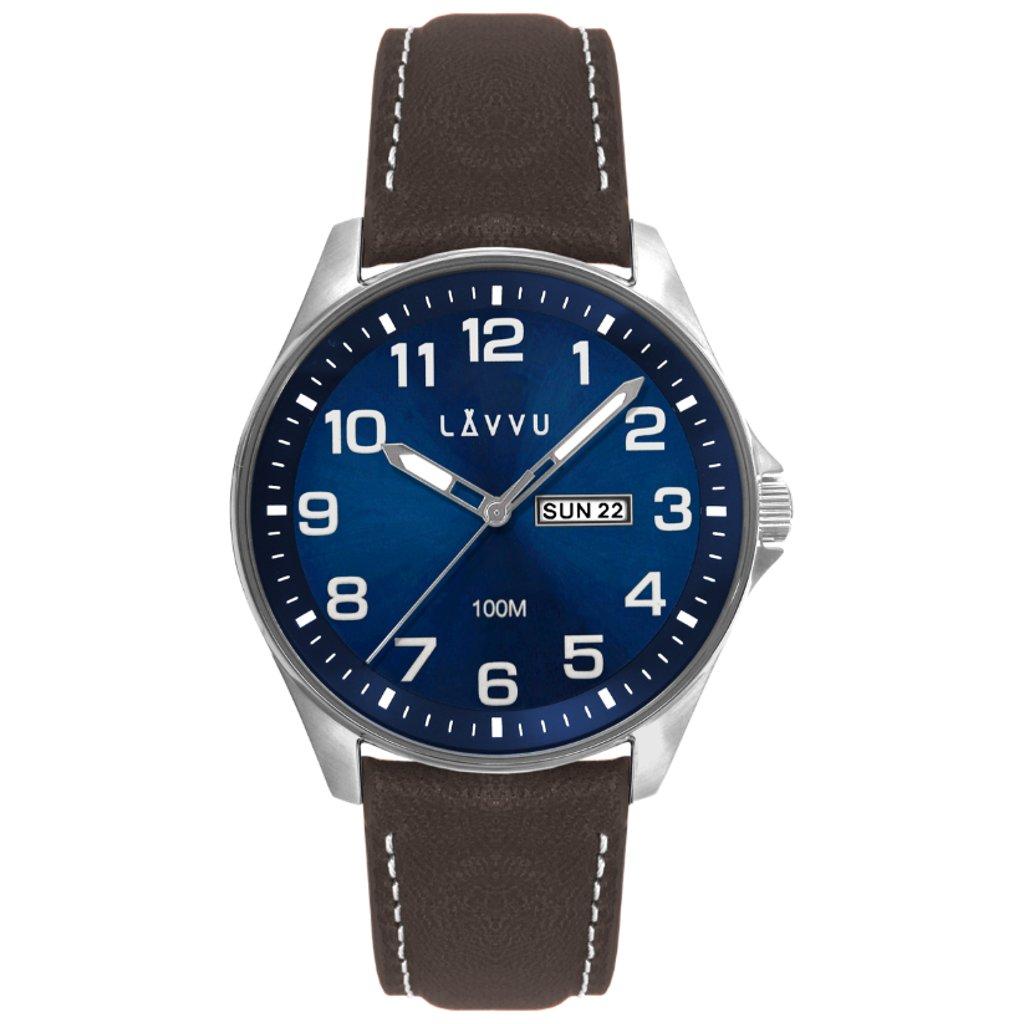 Oceľové pánske hodinky LAVVU BERGEN Blue/Top Grain Leather so svietiacimi číslami