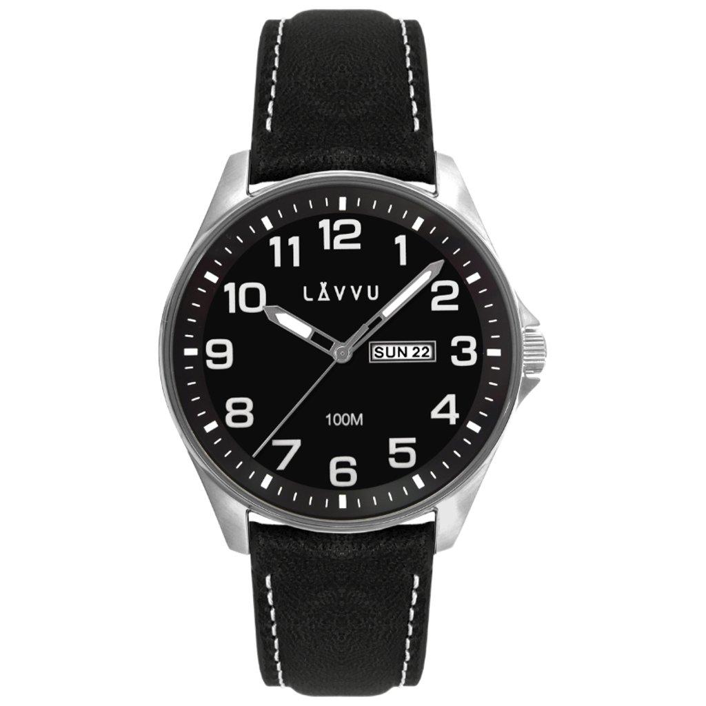 Oceľové pánske hodinky LAVVU BERGEN Black/Top Grain Leather so svietiacimi číslami