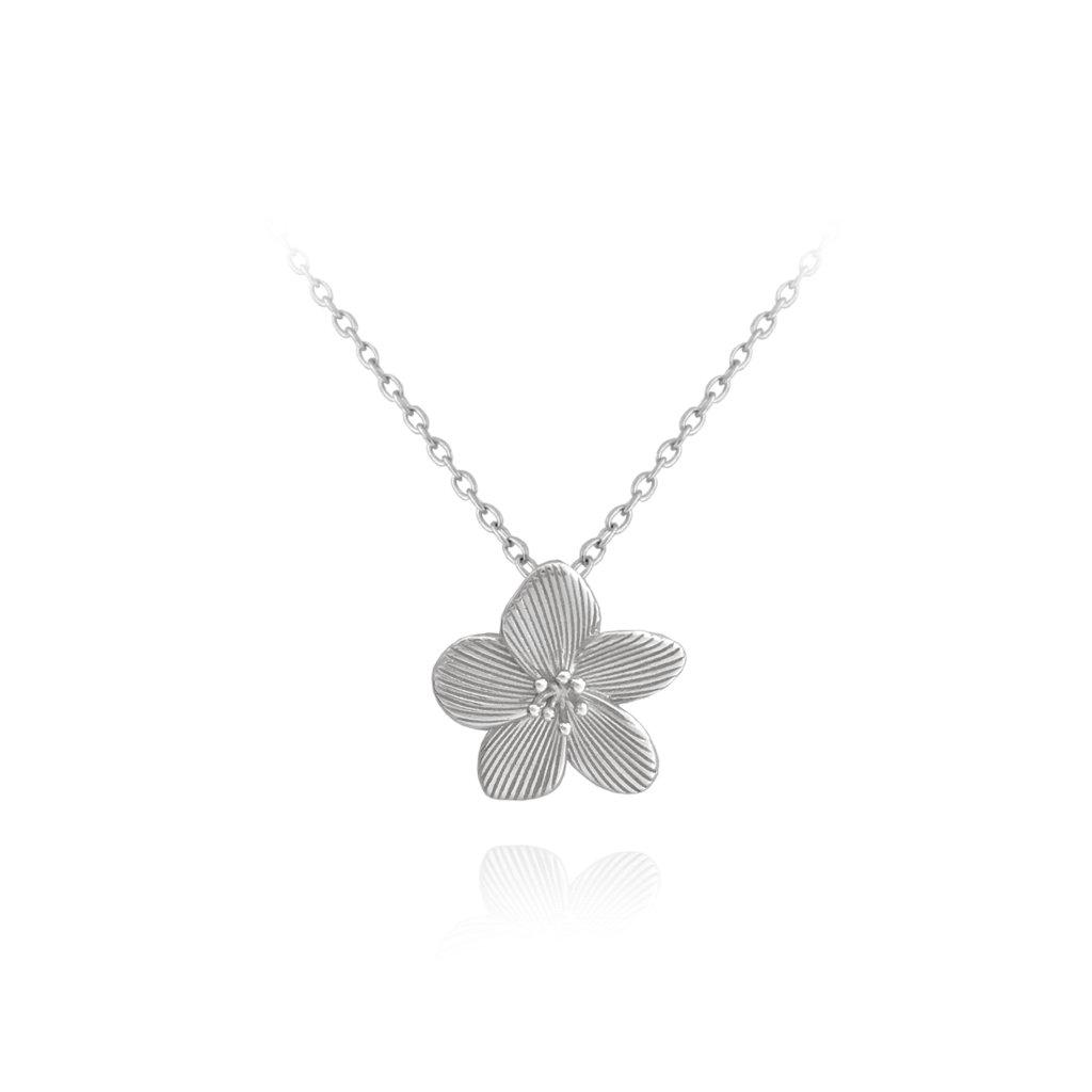 Rozkvitnutý strieborný náhrdelník MINET FLOWERS