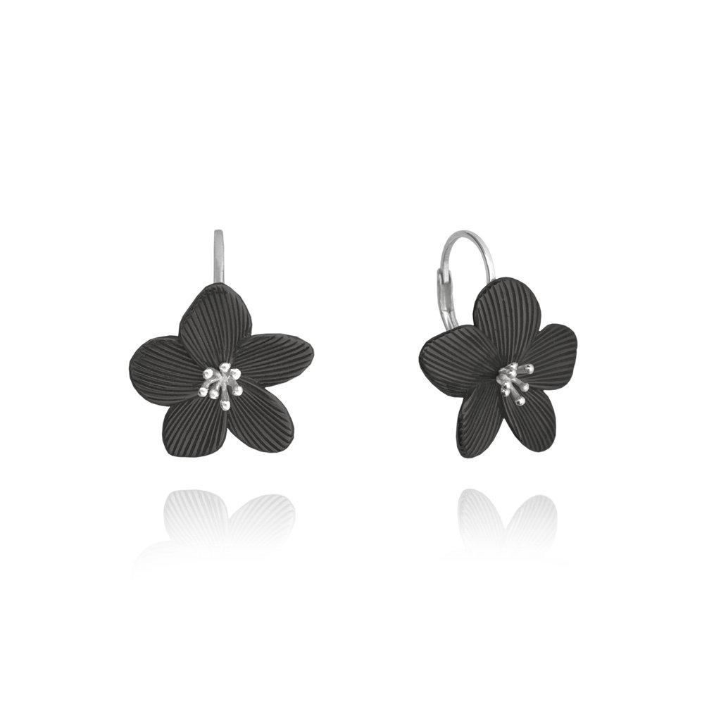 Čierne rozkvitnuté strieborné náušnice MINET FLOWERS