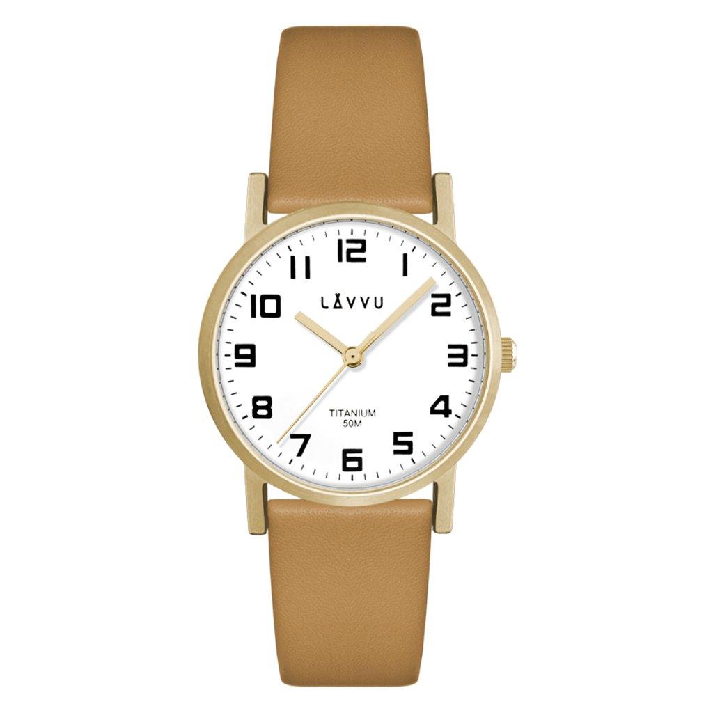 Zlaté dámske titánové hodinky LAVVU MANDAL