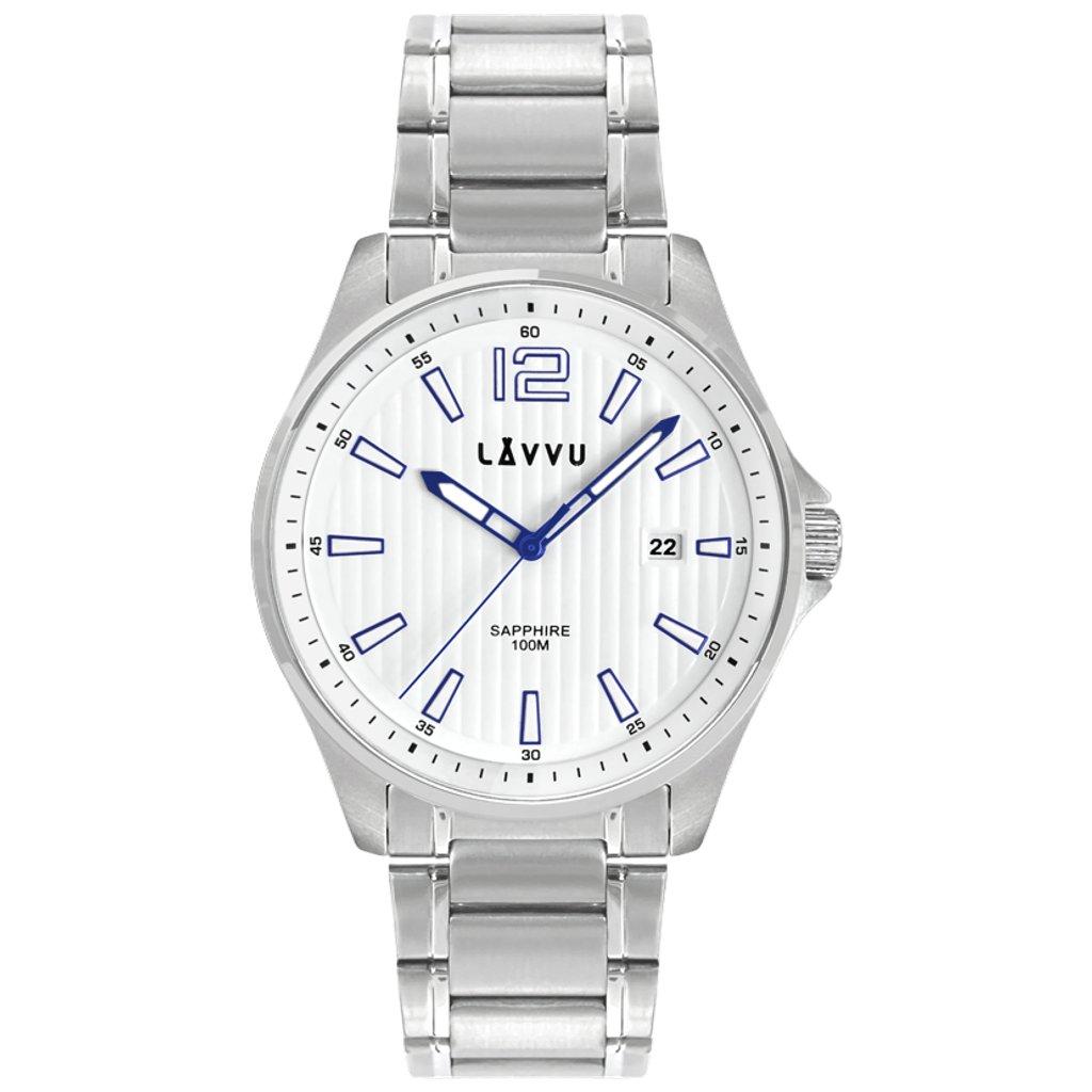 Pánske hodinky so zafírovým sklom LAVVU NORDKAPP White