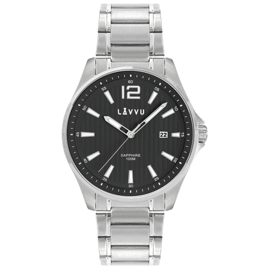 Pánske hodinky so zafírovým sklom LAVVU NORDKAPP Black