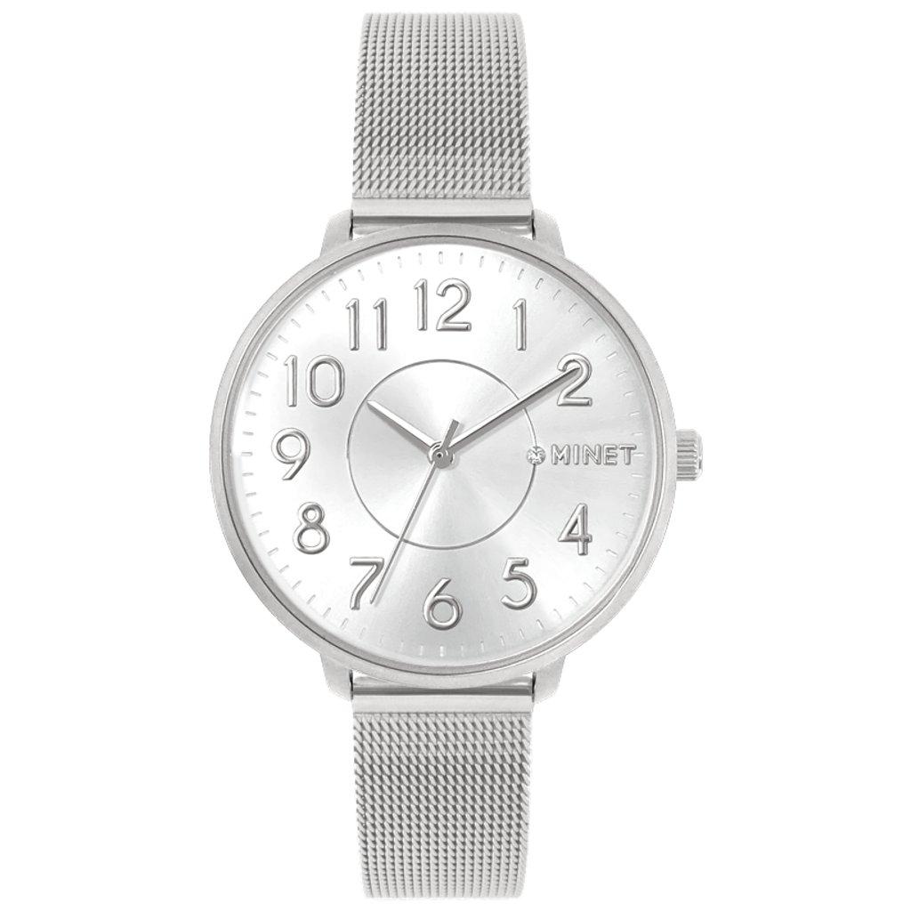 Strieborné dámske hodinky MINET PRAGUE Pure Silver Mesh s číslami