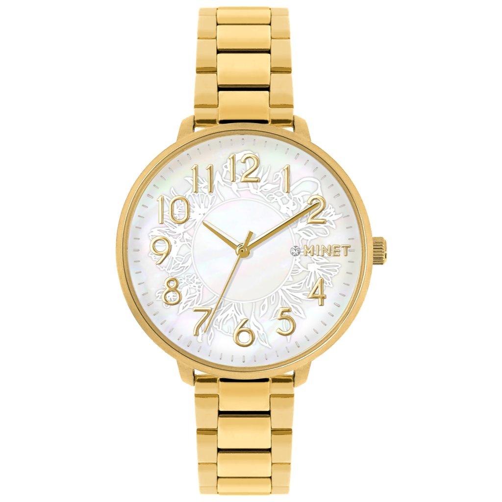 Zlaté dámske hodinky MINET PRAGUE Gold Flower s číslami