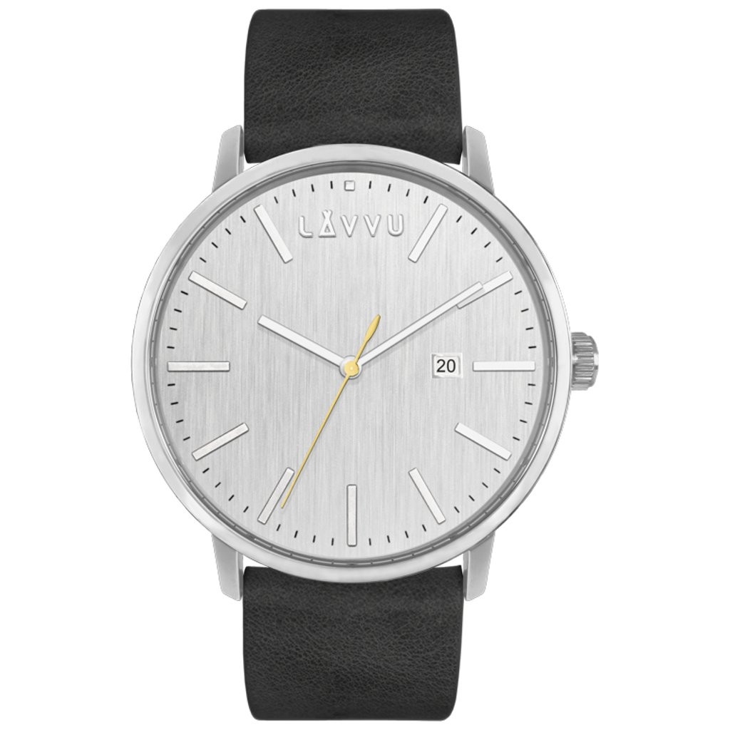 Strieborno-čierne pánske hodinky LAVVU COPENHAGEN