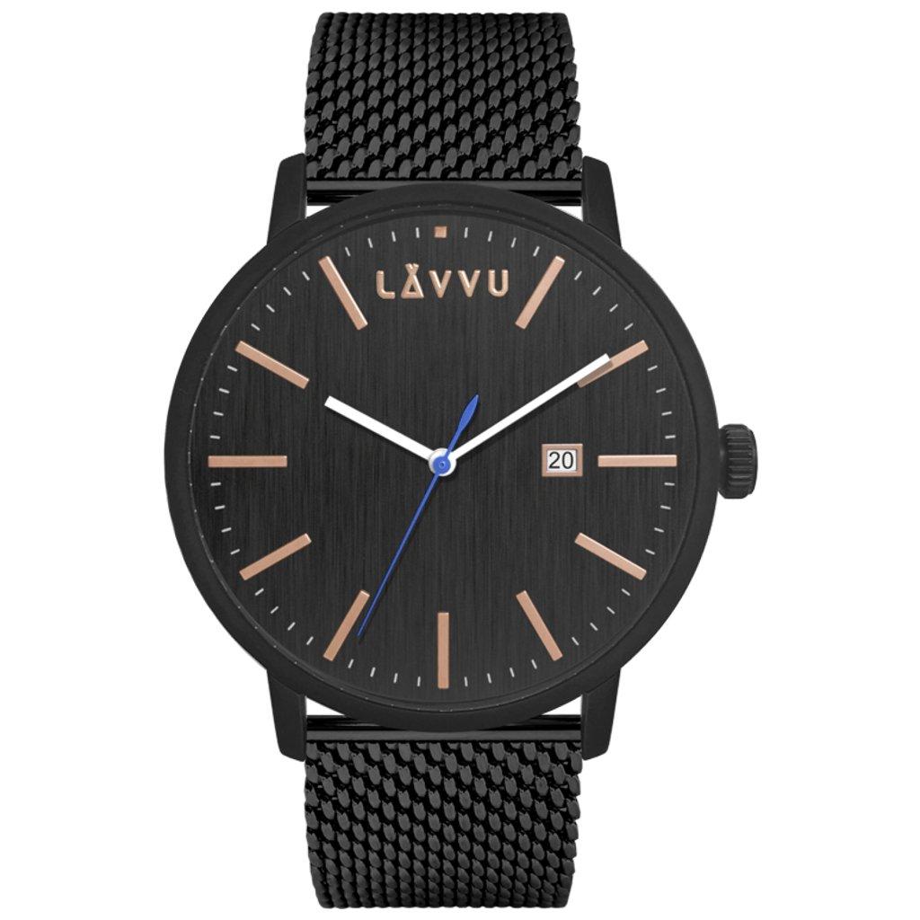 Čierne pánske hodinky LAVVU COPENHAGEN Mesh