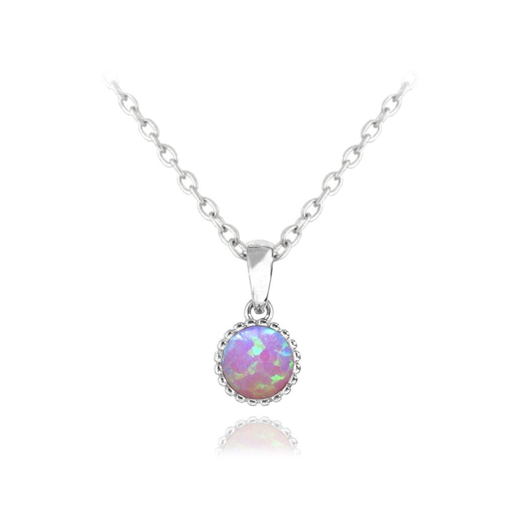 Strieborný náhrdelník MINET s ružovým opálom