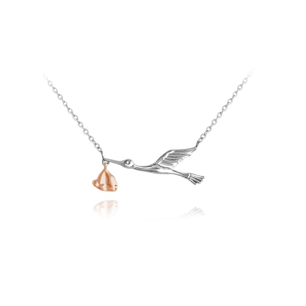 Strieborno-ružový náhrdelník MINET BOCIAN s balíčkom