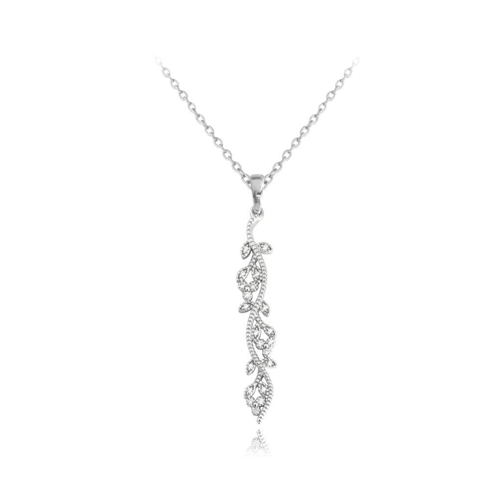 Rozkvitnutý strieborný náhrdelník MINET FLOWERS so zirkónmi