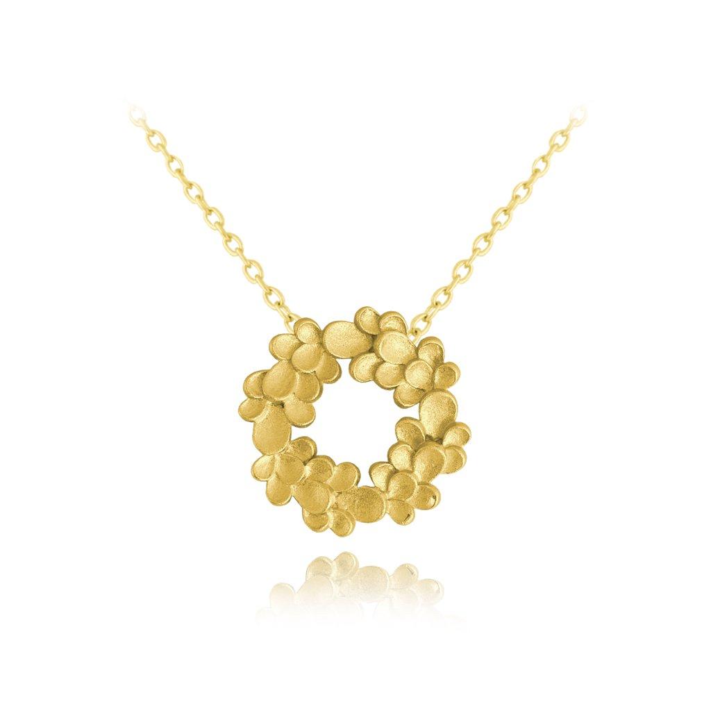 Matný pozlátený strieborný náhrdelník MINET EUCALYPTUS