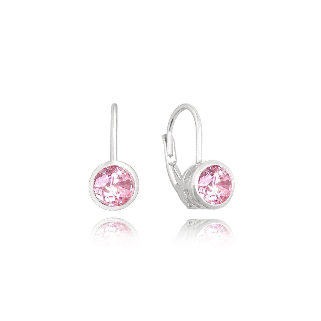 Decentné strieborné náušnice MINET s ružovými zirkónmi