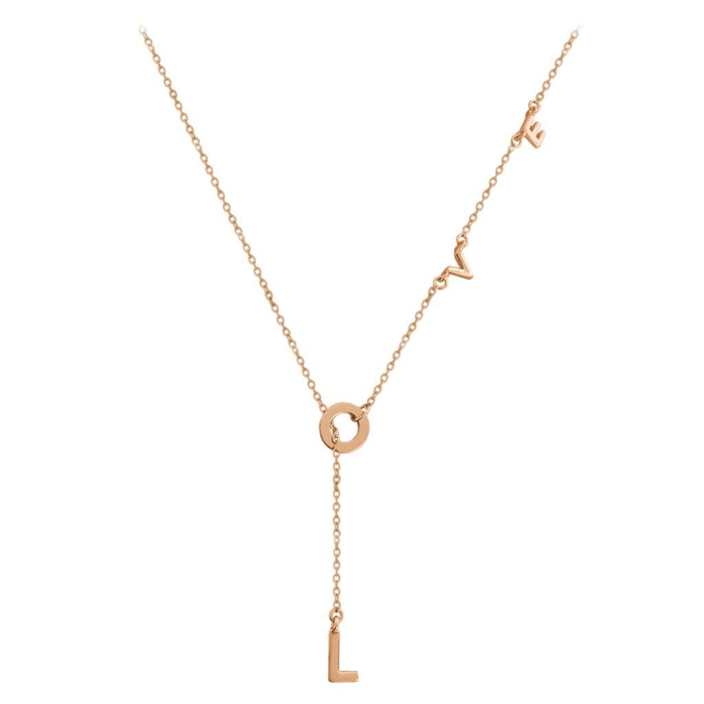 Rose gold strieborný náhrdelník MINET LOVE