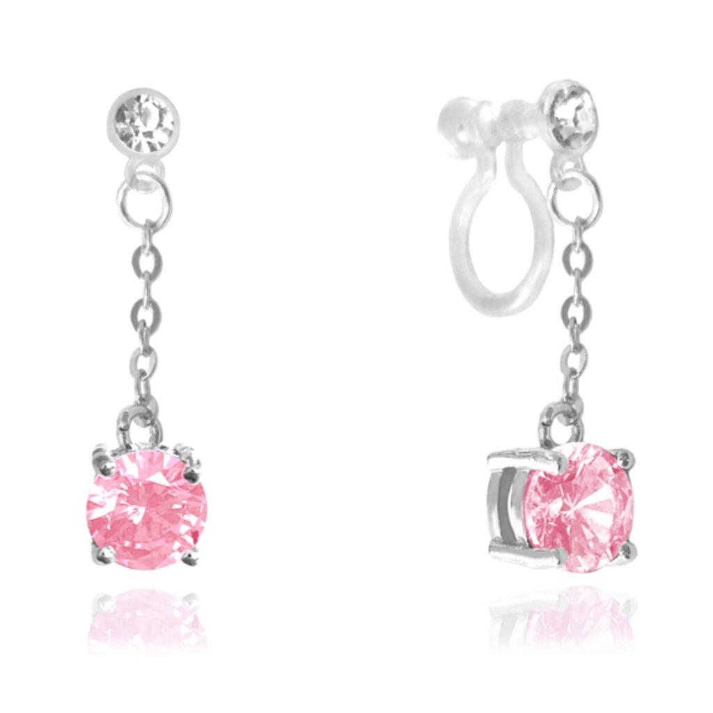 Ružové strieborné náušnice MINET s neviditeľným zapínaním pre uši bez dierok