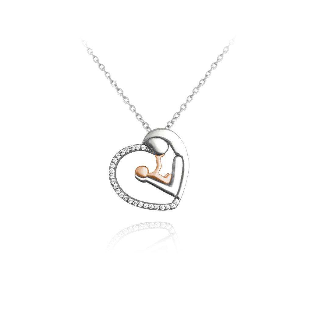 Strieborno-ružový náhrdelník MINET MADONA s bielymi zirkónmi