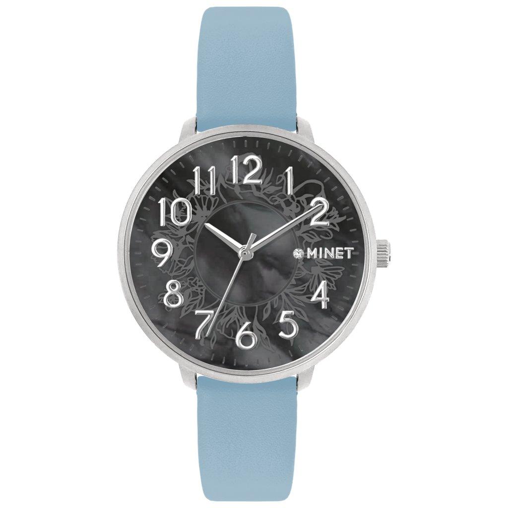 Modré dámske hodinky MINET PRAGUE Black Flower s číslami