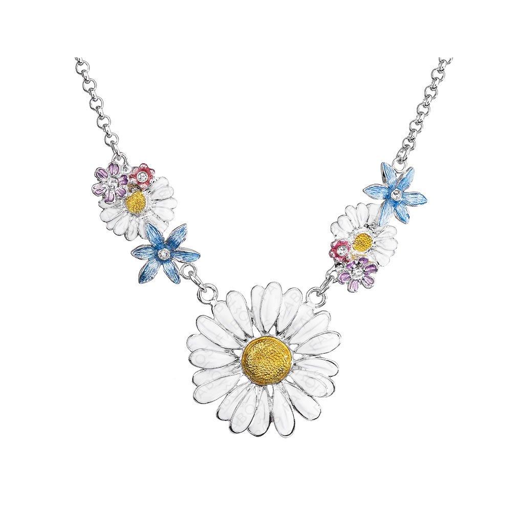 Náhrdelník Margarétka s kvetmi Crystal FABOS