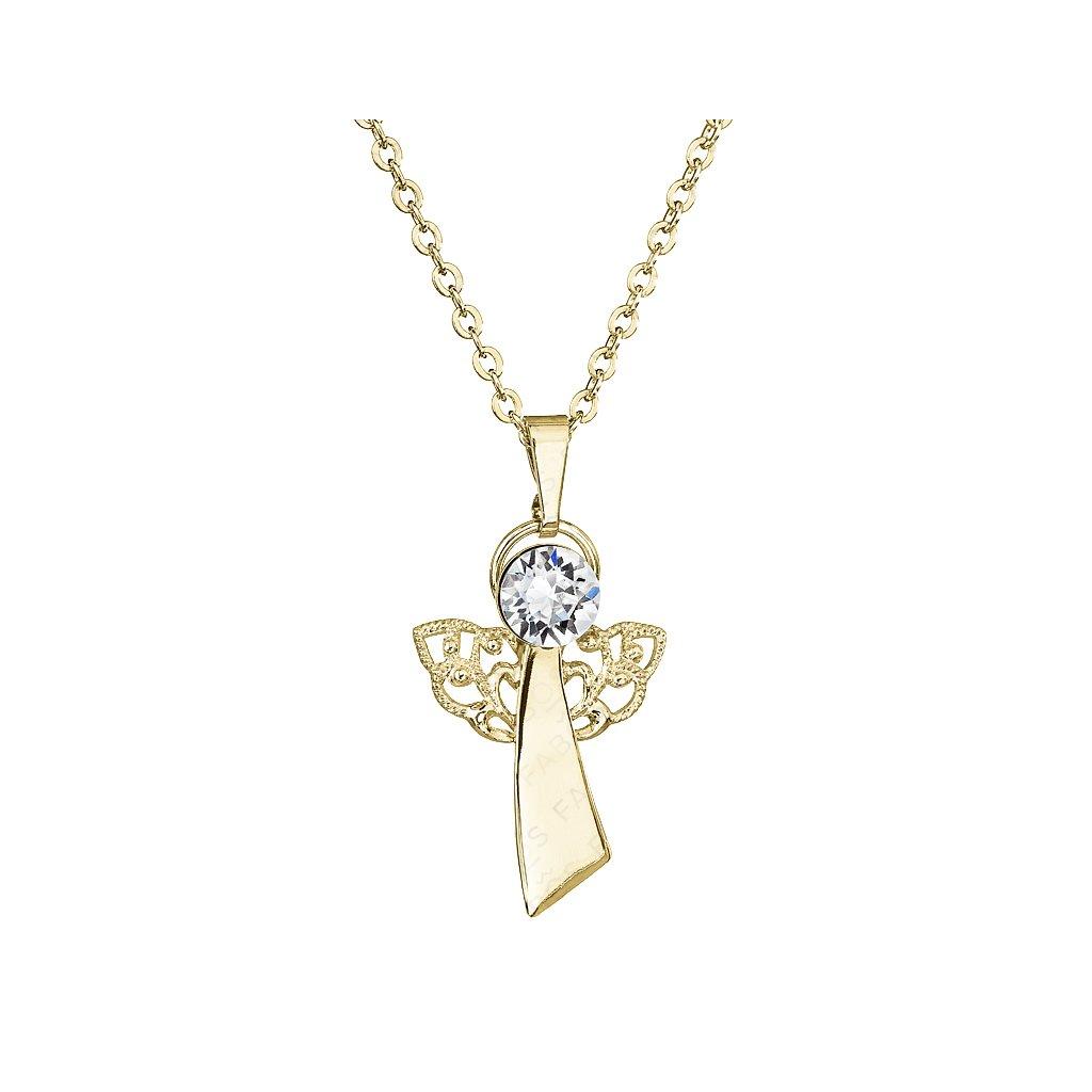 Náhrdelník Anjel viery Crystal pozlátený FABOS