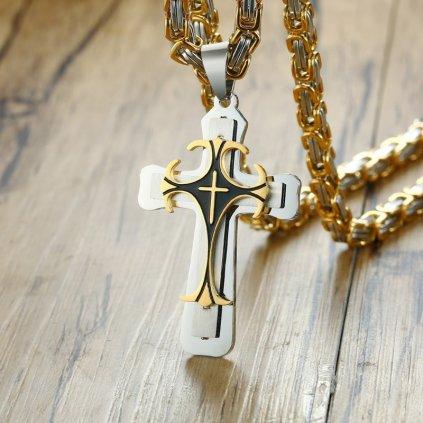 Pánsky masívny náhrdelník s krížom