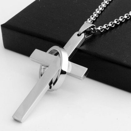 Pánska retiazka s krížom a prsteňom