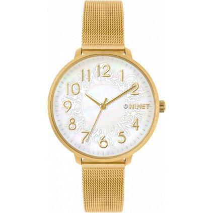 Zlaté dámske hodinky MINET PRAGUE Gold Flower Mesh s číslami