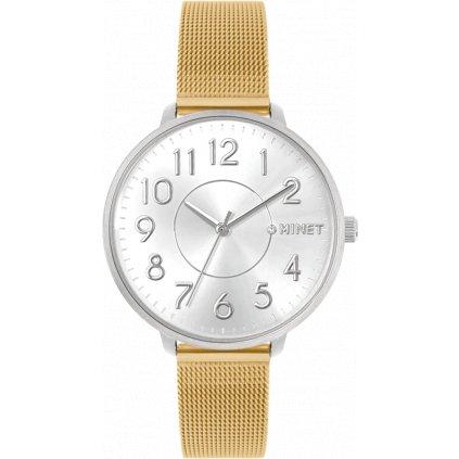 Strieborno-zlaté dámske hodinky MINET PRAGUE Silver & Gold Bicolor Mesh s číslami