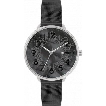 Strieborno-čierne dámske hodinky MINET PRAGUE Black Flower Mesh s číslami