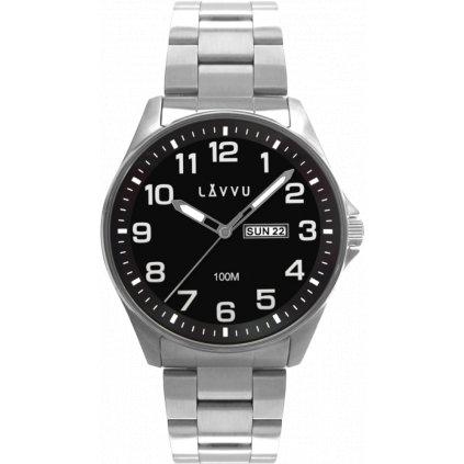 Oceľové pánske hodinky LAVVU BERGEN Black so svietiacimi číslami