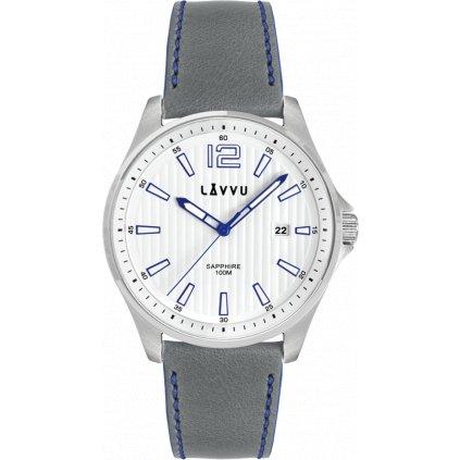 Pánske hodinky so zafírovým sklom LAVVU NORDKAPP White/Top Grain Leather