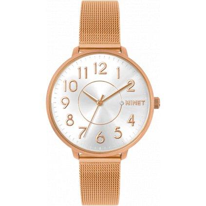 Rose gold dámske hodinky MINET PRAGUE Rose Mesh s číslami