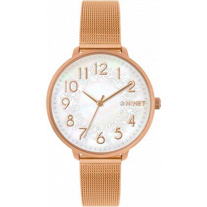 Rose gold dámske hodinky MINET PRAGUE Silver Flower Mesh s číslami