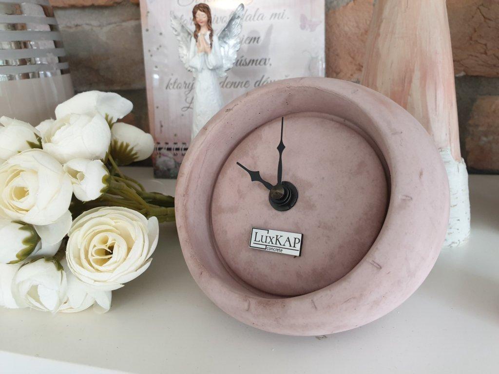 Betonové stolní hodiny růžové 0030S