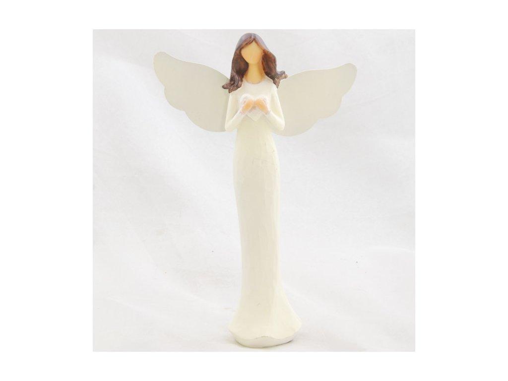 Anděl v krémových šatech se srdíčkem 21 cm