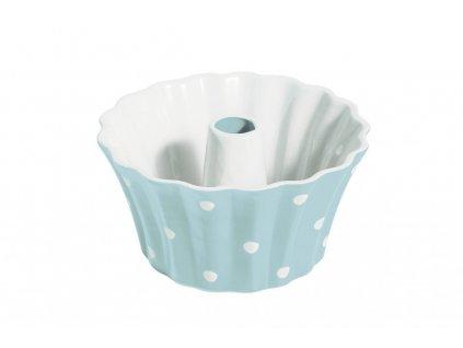 forrma na bábovku modrá s bílými puntíky