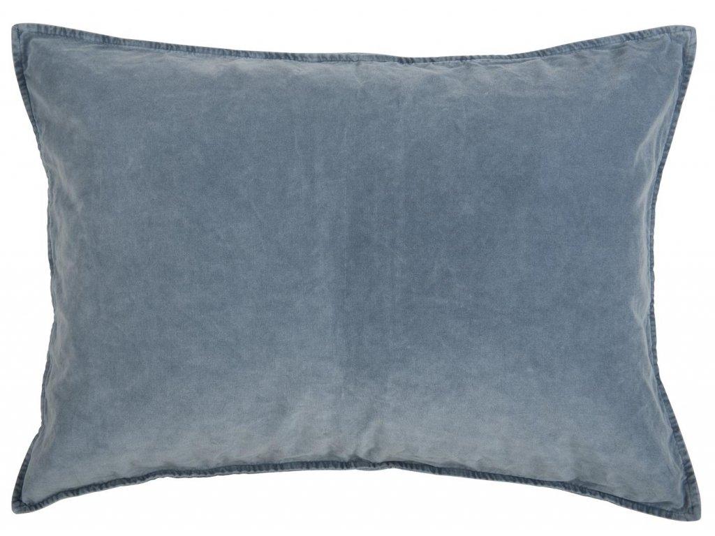 Sametový povlak na polštář modrý