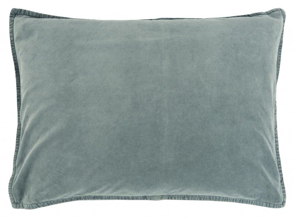 Sametový povlak na polštář kouřově modrý