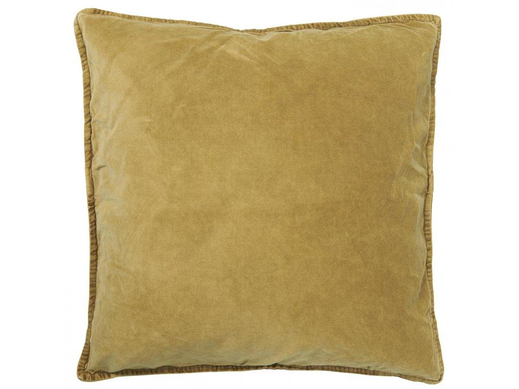 Sametový povlak na polštář hořčicový